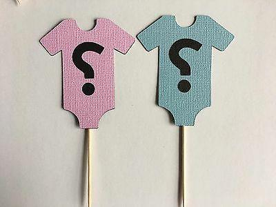 24 Gender Reveal Baby shower cupcake Toppers. Great for baby