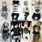 2pcs Newborn Toddler Infant Baby Boy Girl Clothes T-shirt To