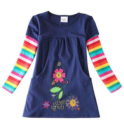 3-8Y Dresses for Girls Baby Long Sleeve Clothes Party Flower