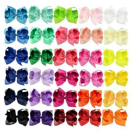 30pcs Grosgrain Ribbon Hair Bows Clips for Kids