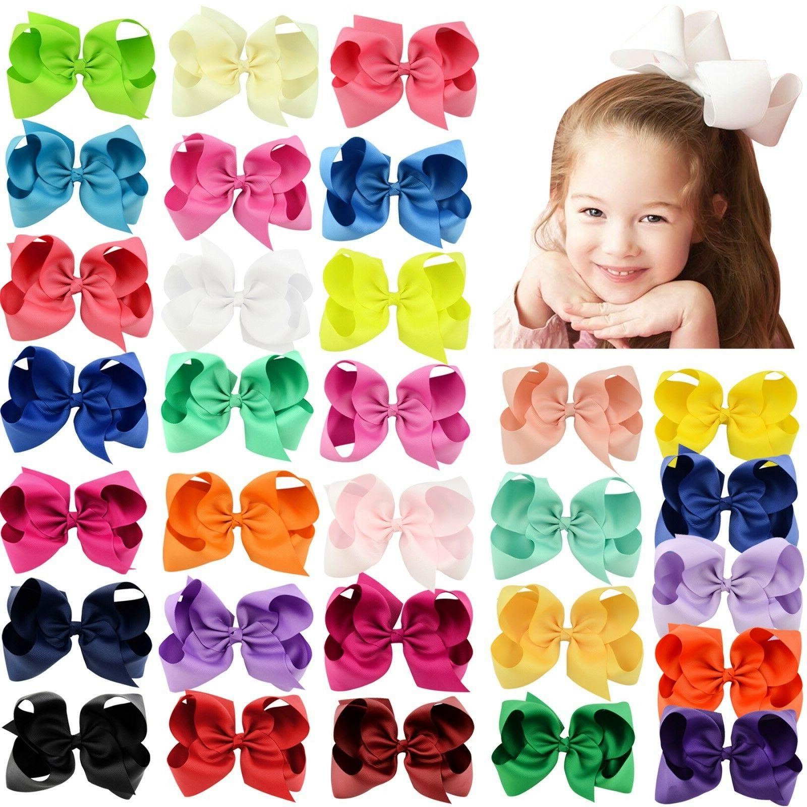 30pcs 6in big grosgrain ribbon hair bows