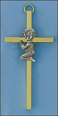 """4"""" Baby Boy Brass Cross Gift Boxed for giving Baptism + any"""