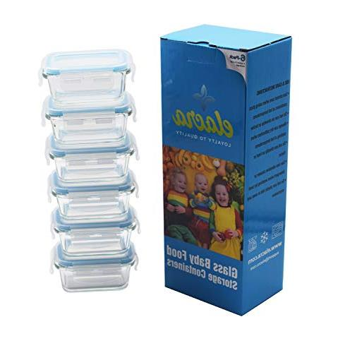 Elacra Baby Food Storage Containers Small Glass with & Lids - Freezer and