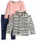 Nautica Baby Girls' Teddy Faux Fur Jacket, Knit Tee, and Leg