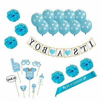 Baby Shower Decorations For Boy 26 Piece Kit, Gender Reveal,