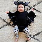 Baby Toddler Halloween Clothes Black Bat Costume Cloak Rompe