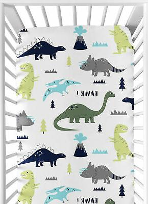 Sweet Jojo Designs Blue and Green Mod Dinosaur Baby Crib or