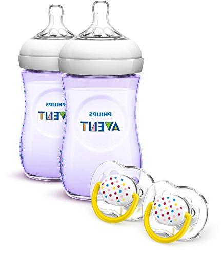 Philips Avent Natural Baby Bottle Gift Set Purple NEW, FREE