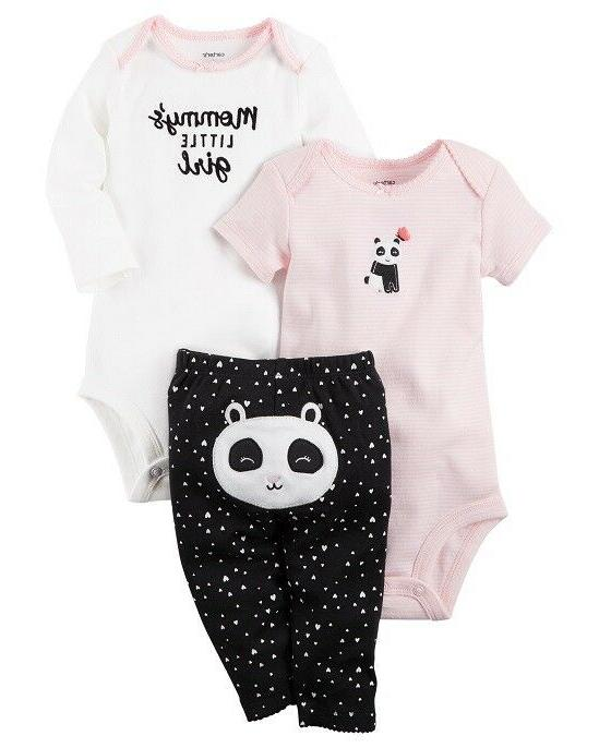 Carter's 3 Piece Baby Girls outfit PANDA CHECK FOR SIZE