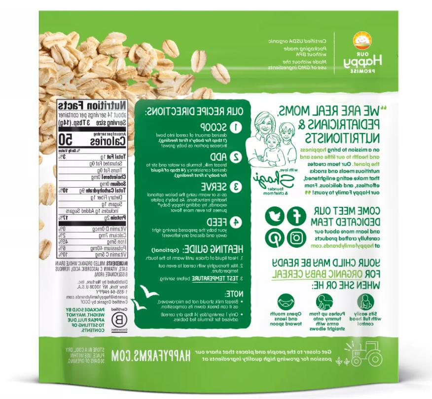 Happy Baby Clearly Crafted Baby Cereal 2pk - Oatmeal / Oats &