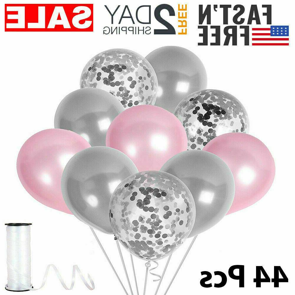 Elephant Theme Pink And Gray Confetti Balloons Baby Shower D
