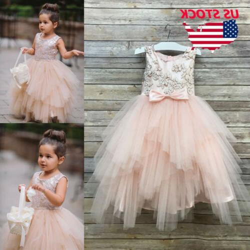 Flower Girl Princess Lace Bridesmaid Wedding Dress Gown Tull