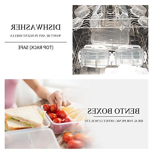 6 Pack Storage Containers , Airtight Reusable Plastic Meal for Microwave Freezer Safe