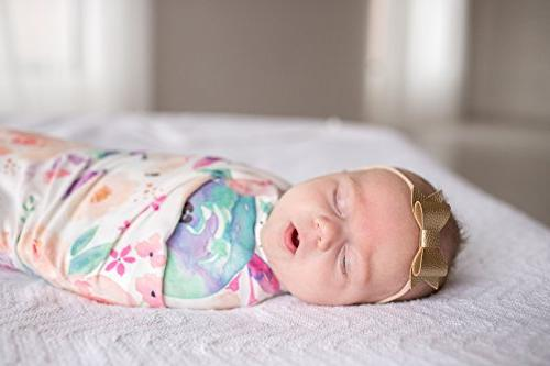 """Large Knit Swaddle Receiving Blanket Floral""""Bloom"""" by"""