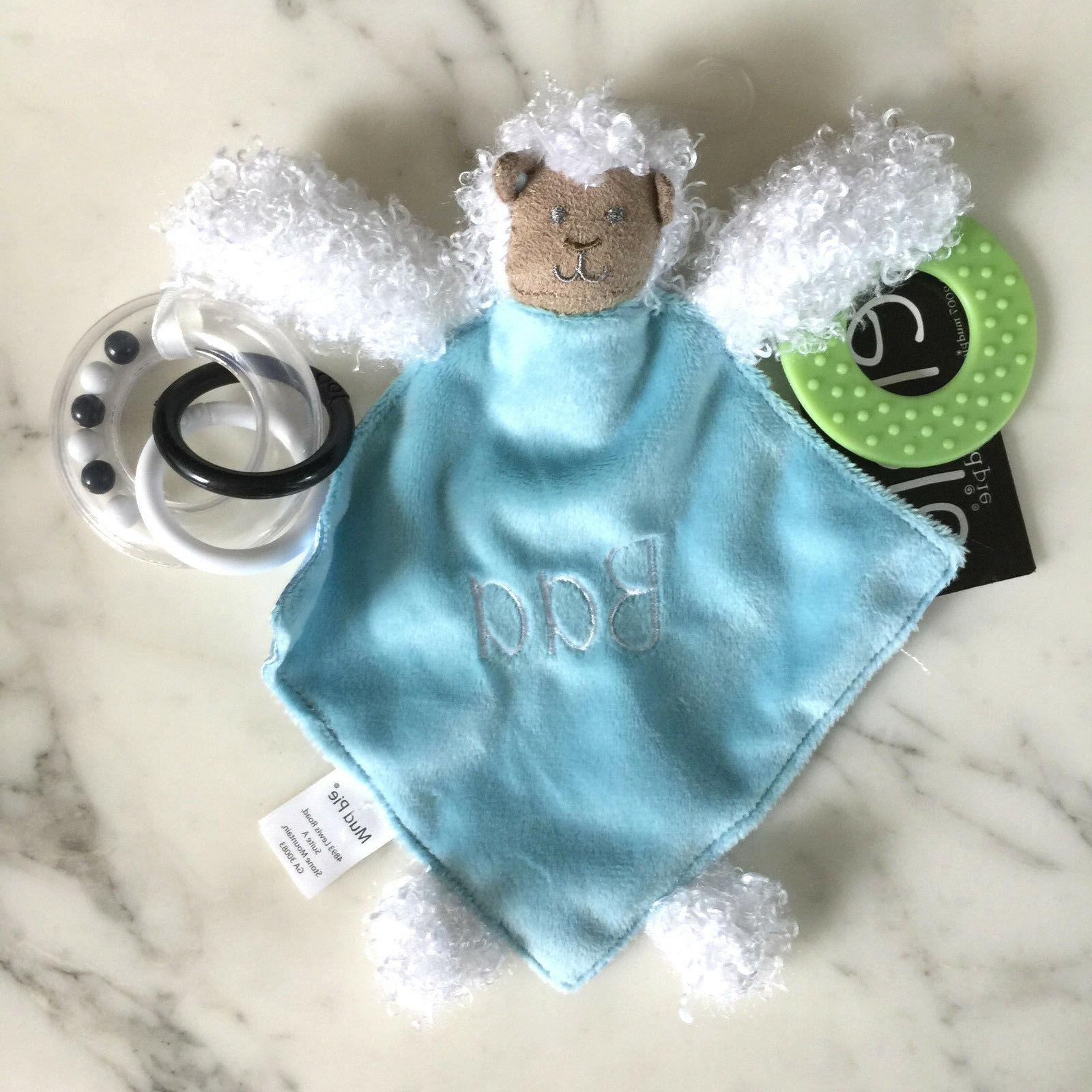 Mud Pie Lamb Plush Teether & Blankie for Baby =New with Tag!