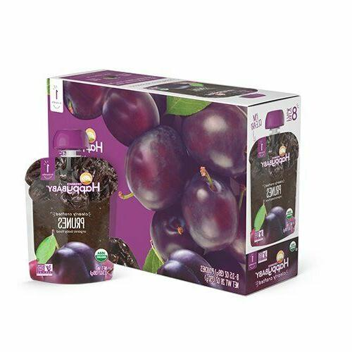 Lot of 2 Happy Baby Prunes Organic Baby Food 8 Pouches 3.5 o