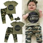 Newborn Baby Daddy's Boy Girl Camo T-shirt Tops Pants Outfit