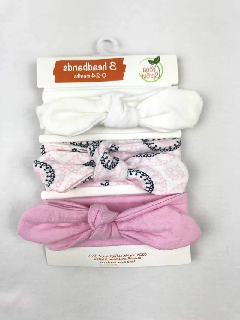 NWT YOGA SPROUT BABY GIRLS 3 PACK COTTON HEADBANDS 0-24MONTH