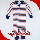 NWT HANNA ANDERSSON ORGANIC BABY SLEEPER ZIPPER RED WHITE BL
