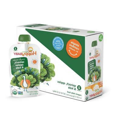 Happy Baby Organic Stage 2 Baby Food, Simple Combos, Spinach