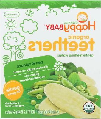 HAPPY BABY-ORGANIC TEETHERS, PEA AND SPINACH