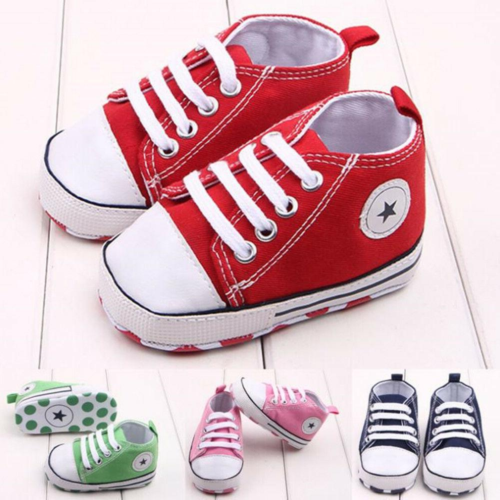 Sneakers For Baby Prewalker Canvas Sole Unisex Shoes Soft Mo