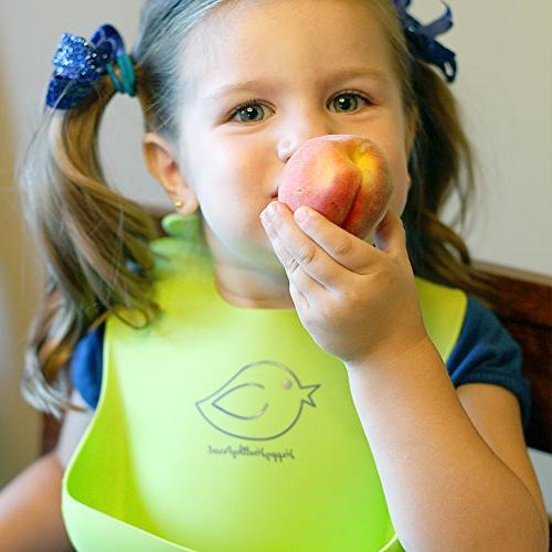 Waterproof Silicone Bib Easily Wipes Baby Stains Off! Cleaning after with Babies or Toddlers! of 2 Colors