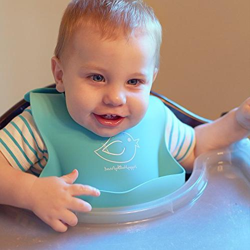 Waterproof Silicone Bib Wipes Soft Baby Bibs Stains Off! Cleaning after Meals Babies Toddlers! of