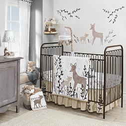 Lambs & Ivy Meadow 3 Piece Crib Bedding Set, Cream/Brown/Whi