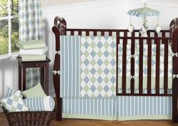 Sweet Jojo Designs Modern Blue and Green Argyle Baby Boy Bed