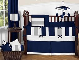 Sweet Jojo Designs Modern Navy Blue and Gray Stripe Print Bo