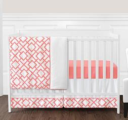 Modern White and Coral Diamond Geometric Girls Baby Bedding
