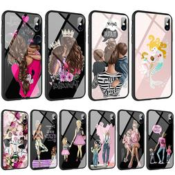 Mom and Baby Son Girl Glass TPU Case for iPhone 11 Pro XR XS