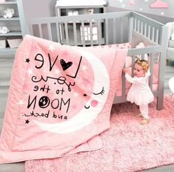 MOON AND STARS BABY GIRLS CRIB BEDDING NURSERY FOR BABY SHOW