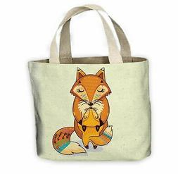 Mother and Baby Fox Cute All Over Tote Shopping Bag For Life