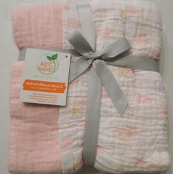 Yoga Sprout Muslin Swaddle Blankets, Pink Sky 2 Pack