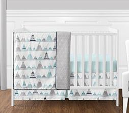 4 pc. Navy Blue, Aqua and Grey Aztec Mountains Baby Boy or G