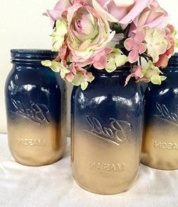 Set of 2 Navy Blue and Gold Painted Mason Jars Centerpieces