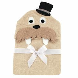 NEW Hudson Baby Animal Face Tan Hooded Towel Classy Walrus w