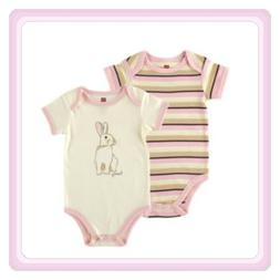 New Baby Girl 2-Pack Touched By Nature Organic One-piece Bun