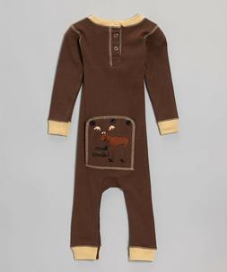 NEW Infant Baby Lazy One Piece Union Suit Pajamas Brown Girl