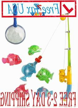 NEW !!! Magnetic Light Up Fishing Baby Bath Toys Set For Tod