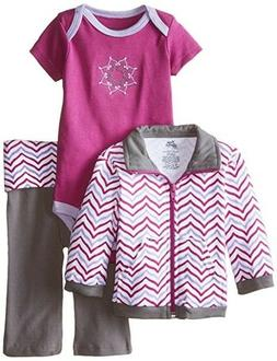 Yoga Sprout Newborn Baby Girls' Track Jacket, Bodysuit & Yog