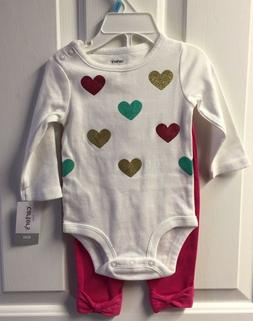 NWT Carter's Baby Girls 2-Pc Heart Valentine Set see descsri