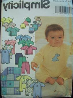 Simplicity Pattern 9782 Baby Layette for Knit Fabrics Sizes