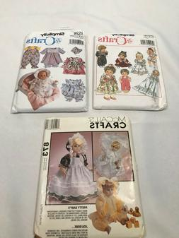 """Simplicity Pattern Lot Wardrobe for Baby Dolls 3 Sizes 12""""-1"""