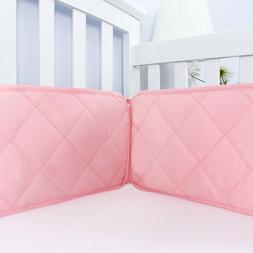 Pink Crib Bumper for Girls Baby Gift Toddler Bedding Pad Pro
