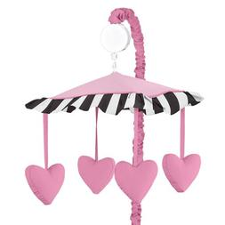 Sweet Jojo Designs Pink Hearts, Black and White Stripe Paris