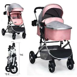 Pink Infant Stroller For Newborn Baby Pushchair Lightweight
