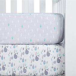 TILLYOU Printed Crib Sheets Set, 100% Egyptian Cotton Toddle